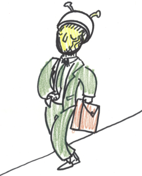 """There's a man in an all-green suit with a helmet carrying a tan briefcase walking eastbound toward the lake. Caller believes he's suspicious. He's a martian."" Dav Yendler, Lady Puns"