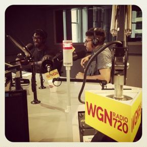Darryl and Erik at WGN's Tribune Tower studio with host David Plier.