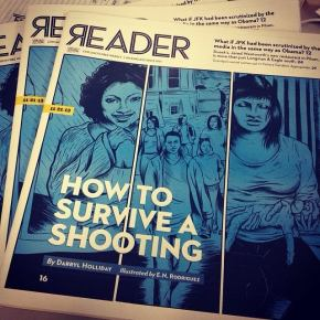 The Illustrated Press cover art and story of the Chicago Reader, November 2013.