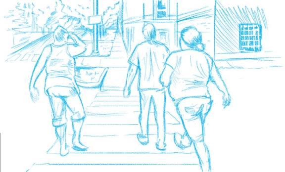 Rough sketch, walk around the block.