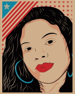 """Gloria Burgos Design by Brian Herrera (Attitude 7). Check out the full Illustrated Press, Attitude 7 and Illinois Humanities Council collaboration for """"Reporting Back"""" here: http://bit.ly/1MyQ4EM — in Chicago, Illinois."""